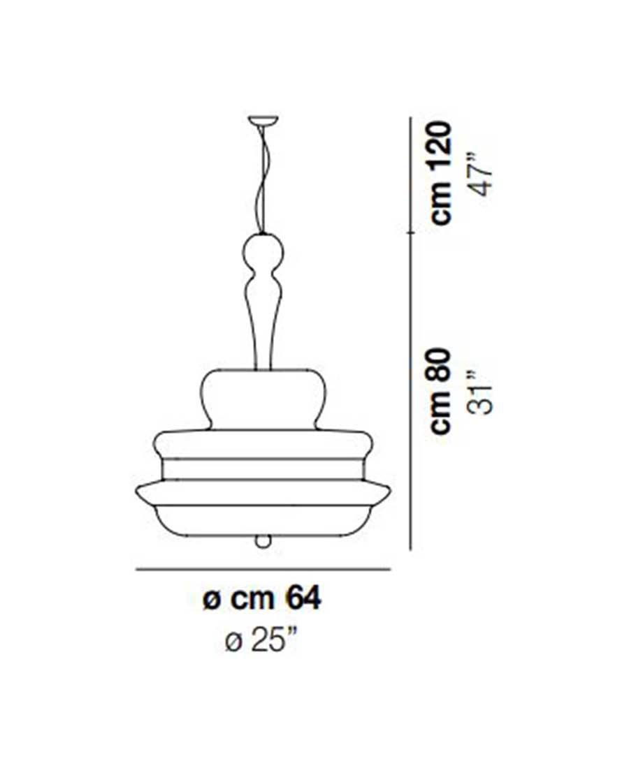 Novecento-SP-G-Pendant-Light-Dimensions-by-Vistosi